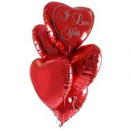 5 шариков в виде сердца - цветы и букеты на roza.pl.ua
