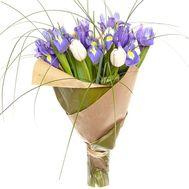 Белые тюльпаны и ирисы в букете - цветы и букеты на roza.pl.ua