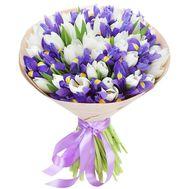 Большой букет из тюльпанов и ирисов - цветы и букеты на roza.pl.ua