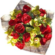 Bouquet of 8 orchids and 13 roses - flowers and bouquets on roza.pl.ua
