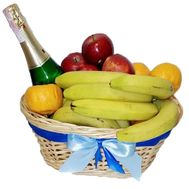 Fruits and champagne in the basket - flowers and bouquets on roza.pl.ua