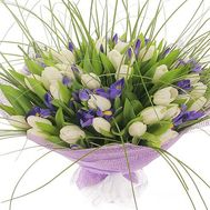 Irises and white tulips - flowers and bouquets on roza.pl.ua