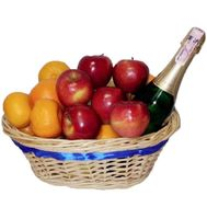 Fruit and champagne basket - flowers and bouquets on roza.pl.ua