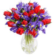 Красные тюльпаны и ирисы - цветы и букеты на roza.pl.ua