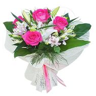 Bouquet of 1 lily, 5 alstroemeria and 5 roses - flowers and bouquets on roza.pl.ua