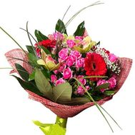 Bouquet of 5 roses, 3 orchids and 5 roses - flowers and bouquets on roza.pl.ua