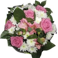 Bouquet of 5 roses, 4 chrysanthemums and 2 alstroemeria - flowers and bouquets on roza.pl.ua
