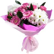 Bouquet of 3 gerberas, 5 roses and 3 chrysanthemums - flowers and bouquets on roza.pl.ua