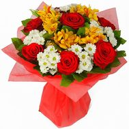 Bouquet of 7 roses, 5 chrysanthemums and 5 alstroemeria - flowers and bouquets on roza.pl.ua