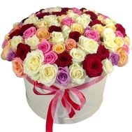 101 roses in a hat box - flowers and bouquets on roza.pl.ua