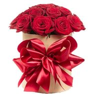 15 red roses in a hat box - flowers and bouquets on roza.pl.ua