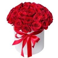 35 red roses in a round box - flowers and bouquets on roza.pl.ua