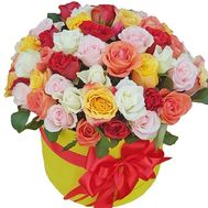51 multi-colored rose in a box - flowers and bouquets on roza.pl.ua