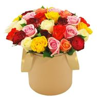Bouquet of multicolored roses in a box - flowers and bouquets on roza.pl.ua