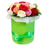 Roses in a Hat Box - flowers and bouquets on roza.pl.ua