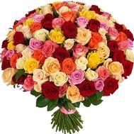 VIP bouquet 151 multi-colored rose - flowers and bouquets on roza.pl.ua