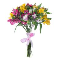 Bouquet of 11 multi-colored roses - flowers and bouquets on roza.pl.ua