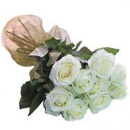 Букет из 9 белых роз - цветы и букеты на roza.pl.ua