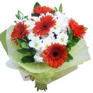 Bouquet of 4 chrysanthemums and 5 gerberas - flowers and bouquets on roza.pl.ua
