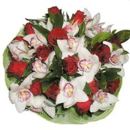 Bouquet of 14 roses and 11 orchids - flowers and bouquets on roza.pl.ua