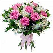 Bouquet of 7 roses and 10 alstromeries - flowers and bouquets on roza.pl.ua
