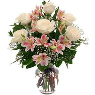 Bouquet of 7 roses and 4 alstromeries - flowers and bouquets on roza.pl.ua