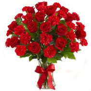 Bouquet of 12 roses and 15 carnations - flowers and bouquets on roza.pl.ua