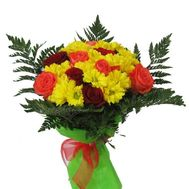 Bouquet of 9 roses and 6 chrysanthemums - flowers and bouquets on roza.pl.ua