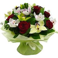 Bouquet of 9 roses and 12 orchids - flowers and bouquets on roza.pl.ua