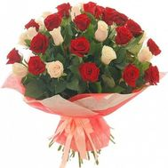 Bouquet of 37 red and white roses - flowers and bouquets on roza.pl.ua