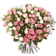 Bouquet of 55 pink and cream roses - flowers and bouquets on roza.pl.ua