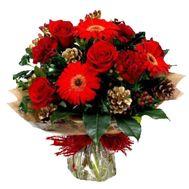 Букет из 3 гербер, 3 роз, 3 гвоздик - цветы и букеты на roza.pl.ua