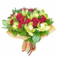 Bouquet of 11 orchids and 16 roses - flowers and bouquets on roza.pl.ua