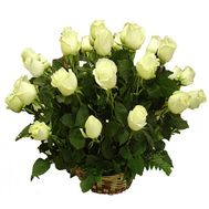 A basket of 21 white roses - flowers and bouquets on roza.pl.ua