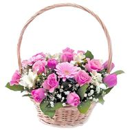 Basket of roses, gerberas and tulips - flowers and bouquets on roza.pl.ua