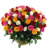 Basket of 101 different colored roses - flowers and bouquets on roza.pl.ua