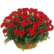 Basket of 101 red roses - flowers and bouquets on roza.pl.ua