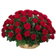 Basket of 51 roses - flowers and bouquets on roza.pl.ua