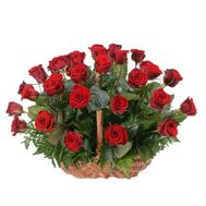 Basket of 25 red roses - flowers and bouquets on roza.pl.ua