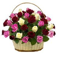 Basket of 35 multi-colored roses - flowers and bouquets on roza.pl.ua