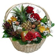 Fruit basket with flowers - flowers and bouquets on roza.pl.ua