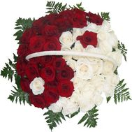 Basket with 51 roses - flowers and bouquets on roza.pl.ua