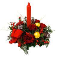 Букет из 5 роз и свечи - цветы и букеты на roza.pl.ua
