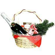 Новогодняя корзинка - цветы и букеты на roza.pl.ua