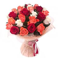 Bouquet of 25 multi-colored roses - flowers and bouquets on roza.pl.ua