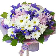 Bouquet with 8 chrysanthemums and 7 irises - flowers and bouquets on roza.pl.ua