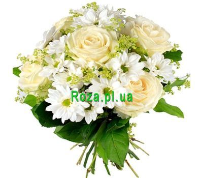 """""""A snow-white bouquet of flowers"""" in the online flower shop roza.pl.ua"""