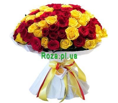 """Bouquet of 101 red and yellow roses"" in the online flower shop roza.pl.ua"