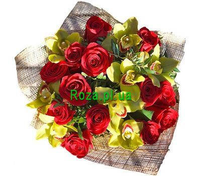 """Bouquet of 8 orchids and 13 roses"" in the online flower shop roza.pl.ua"