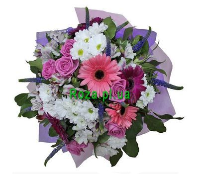 """Bouquet of 5 gerberas, 7 roses, 5 alstromeries and 5 chrysanthemums"" in the online flower shop roza.pl.ua"